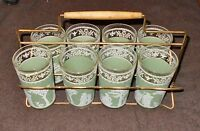 SET of 8 CLEAR & SAGE GREEN TUMBLERS with WHITE ROMAN SCENES & CARRIER