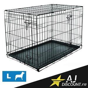 Caisse de transport - Taille L - 107x71x76 cm - Cage métallique pour chien chat
