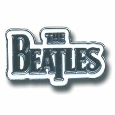 The Beatles Drop T Band Logo Metal Pin Badge Black White Background Official