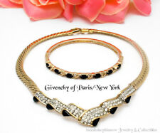 Givenchy Paris New York Choker With Clear Pave' Stones & Black Glass Tear Drops