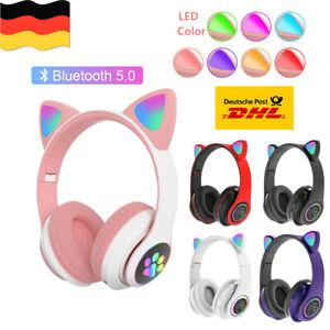 Bluetooth Kopfhörer LED Katzenohren Headset Kinder Over-Ear Faltbare Geschenk