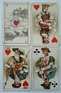 ANTIQUE PLAYING CARDS DONDORF COSTUMES SWISS WHIST No174 GILDED CORNERS 1900