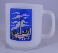 Vintage Glasbake Coffee Mug Cup White CN Tower Toronto Canada Tallest Structure