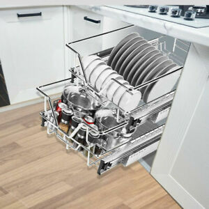 400MM PULL OUT WIRE BASKETS KITCHEN SLIDING CABINET CUPBOARD SOFT CLOSE CHROME