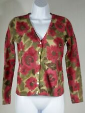 Carole Little Women's Cardigan Wool & Angora Pink Red Flowers Green sz. sm