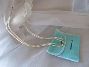 Tiffany & Co. Double Stranded Pearl Infinity Sterling Silver Necklace