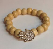 Wood Hamsa W/Stones Elastic Bracelet Light Brown Hand Of God Religious Bracelet