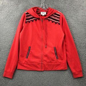 Lucky Brand Hoodie M Womens Regular Size Long Sleeve Full Zip Fair Isle Red