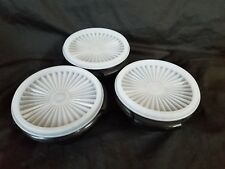 Tupperware Servalier 10oz Bowls 1 Touch Instant accordion seals Black White seal