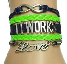 NEW Infinity IT WORKS LOVE Charms Leather Braided Bracelet- Navy blue/Green