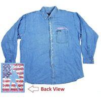 Neil Diamond Mens 2XL 2001 Denim Button Up Concert Tour Shirt American Flag