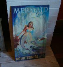 Mermaid Cove Tropical Beach Sign Vintage Retro Style Coastal Island Home Decor