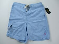 """Ralph Lauren 8.5"""" Solid Blue Traveler Swim Trunks Shorts Suit Sz L XL NWT $70"""