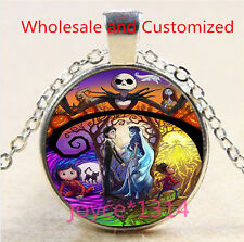 Nightmare Before Christmas Cabochon silver Glass Chain Pendant Necklace #4773