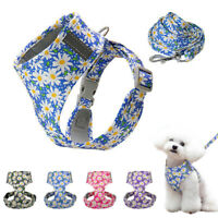 Cute Flower Dog Harness and Leash with Walk Collar Mesh Padded Reflective Design