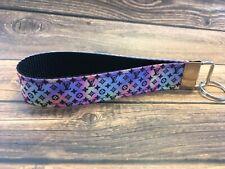 Key Fob Chain Holder Wrist Lanyard Strap Glitter Purple Pink Sparkle Holiday