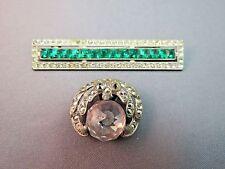 Art Deco Lot 2 Base Metal Brooch Bar Pin Princess Cut Green Stones Huge Crystal