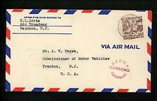 Postal History Netherlands Antilles Scott #C13 Censor Airmail 1940 Oranjestad NJ
