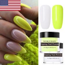 2Boxes NICOLE DIARY Glitter White Yellow Dipping Powder Nail Art System Dip Kit