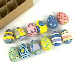 Lillian VernonEaster Eggs Set Of 12 Pastel Hand PaintedWoodDecorative Vtg