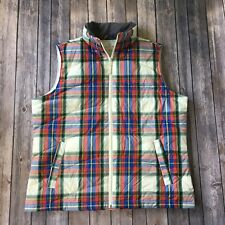 Lands End Vest L 14 16 Plaid Puffy Down Lightweight Quilted Sleeveless Jacket