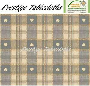 Grey Heart Check PVC Vinyl Wipe Clean Tablecloth - ALL SIZES - Code: C57-5