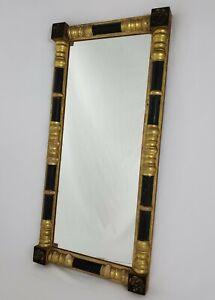 Antique Wall Mirror American Federal Carved Wood Gold Gilt Ebonized 19th C.