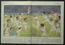 Sports Artist H F Crowther Smith Wimbledon Tennis Caricatures 1925 2 Page Print