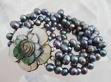 3 Rows Genuine Black Pearl Shell Flower Conch Clasp Bangle Bracelet