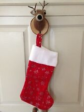 SALEVintage red Christmas stocking faux white fur & glitter snowflake pattern