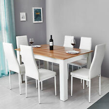 Wooden Dining Table Set w/6 Faux Leather Chairs Seat Kitchen Furniture Oak&White
