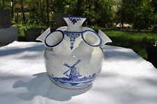 "Tulpenvaas Molen - Dutch Blue Delft Tulip Windmill Porcelain Vase - 6 1/2""H"