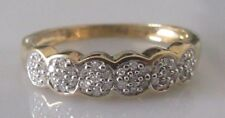 Secondhand 9ct yellow gold multi diamond (0.10ct) multi cluster ring size P