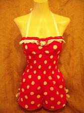 Red white polka dot halterneck playsuit! 1950's,vintage,rockabilly! Pin-up! XX