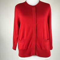 Moth Anthropologie Women Red Snap Button Pocket Sweater Cardigan sz M