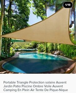 VOILE PARASOL LUXE PARE SOLEIL TOILE TRIANGLE Terrasse Patio 5X5X5M