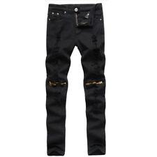 Mens White Red Skinny Slim Biker Pants Knee Zipper Distressed Ripped Denim Jeans