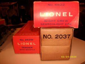 Lionel empty boxes
