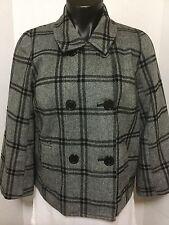 Isaac Mizrahi Womens Size S Gray Plaid Double Breasted Lined Short Jacket Coat