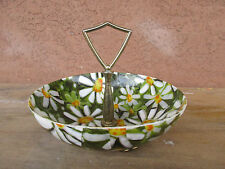 Vintage Plastic Candy Dish Trinket Bowl Holder Flower Retro Green Yellow White