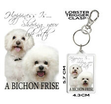 BICHON FRISE KEYRING Can Be Personalised Happiness Is... BICHON FRISE Gift