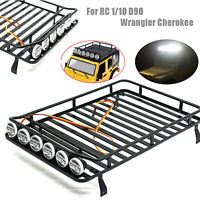 Metal Roof luggage Rack w/ 6 LED light for RC 1/10 D90 Wrangler Cherokee Crawler