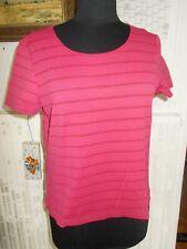 Tee shirt polyamide rouge stretch rayé fin UN JOUR AILLEURS T.3 42/44FR