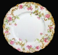 """STUNNING JP LIMOGES 8.75"""" PLATE POUYAT FRANCE FRENCH ORNATE GOLD FLORAL SPRAY"""