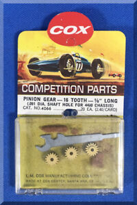 COX 1:24 SCALE COMPETITION SLOT CAR RACING CHASSIS 16T PINION GEAR BRASS PARTS