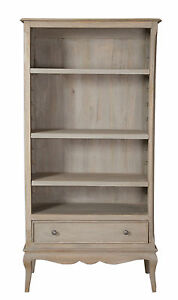 Loire French Grey Solid Mango Wood 1 Drawer Large Bookcase / Fully Assembled