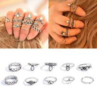 10pcs/set Mid Midi Above Knuckle Ring Band Gold Silver Tip Finger Stacking Chic