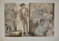 Lucien Philippe MORETTI - Lithographie originale signée - Sac billes, coiffeur