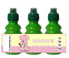 PERSONALISED Minnie Mouse 1st Birthday FRUIT SHOOT BOTTLE LABEL Party Bag
