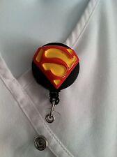 SUPERMAN DC COMIC ID BADGE HOLDER NURSES DOCTOR MEDICAL MA ALLIGATOR CLIP RN MD